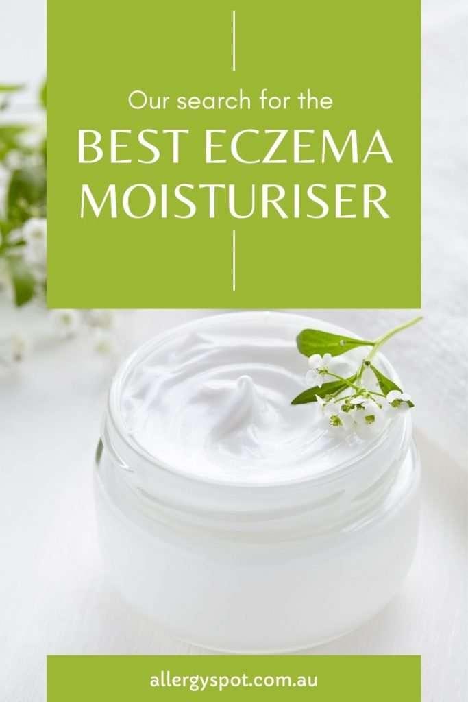 Glass jar of eczema moisturiser with text: Our search for the best eczema moisturiser.