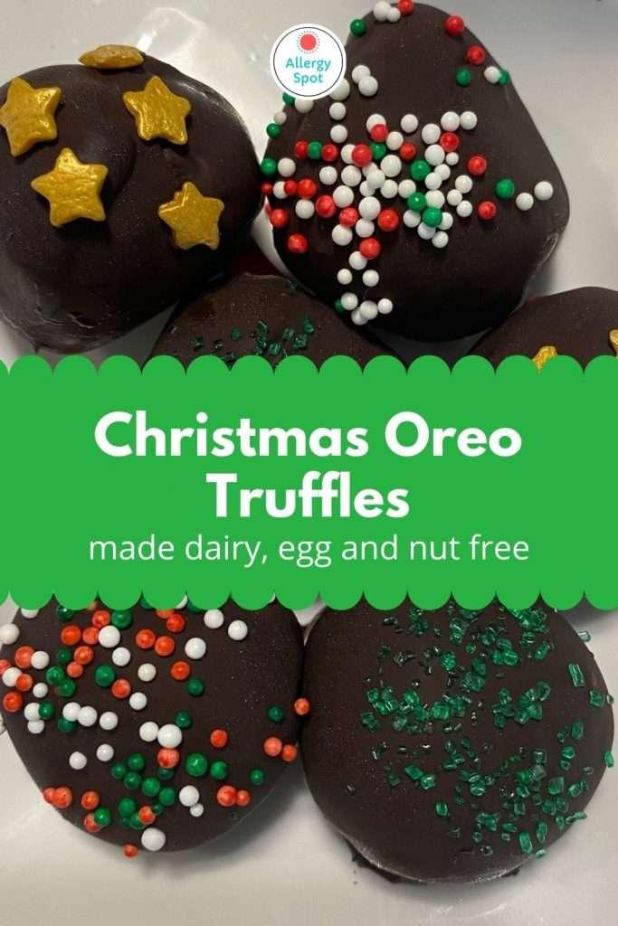 Dish of allergy-friendly Christmas Oreo truffles