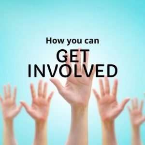 """Fiver hands raised in the air against blue background with text overlay """"how you can get involved"""""""