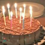 allergy friendly dairy free ice cream cake with candles